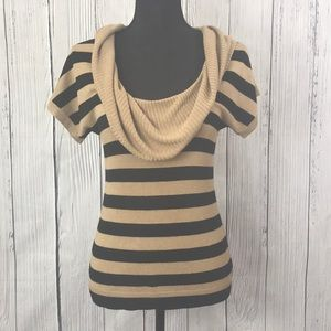 Express Tan & Black Striped Cowl Neck Knit Top